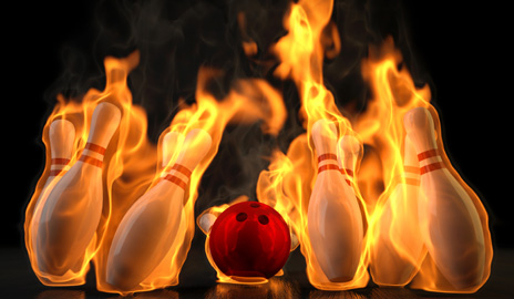 bowling pins aflame